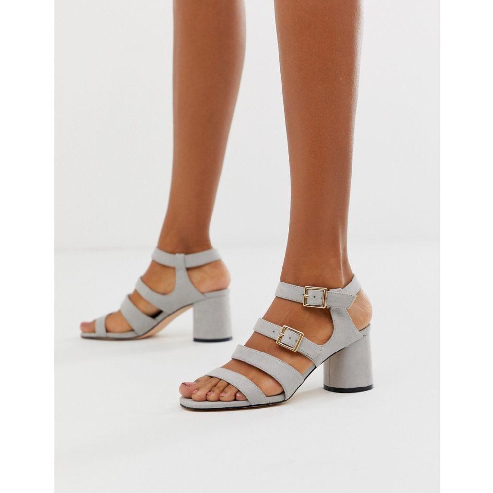 フェイス Faith レディース サンダル・ミュール シューズ・靴【Exclusive buckle block heeled sandals】Grey