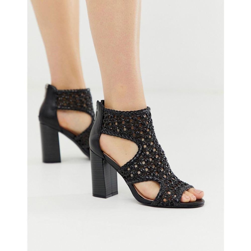 フェイス Faith レディース サンダル・ミュール シューズ・靴【Leave black heel weave sandals】Black