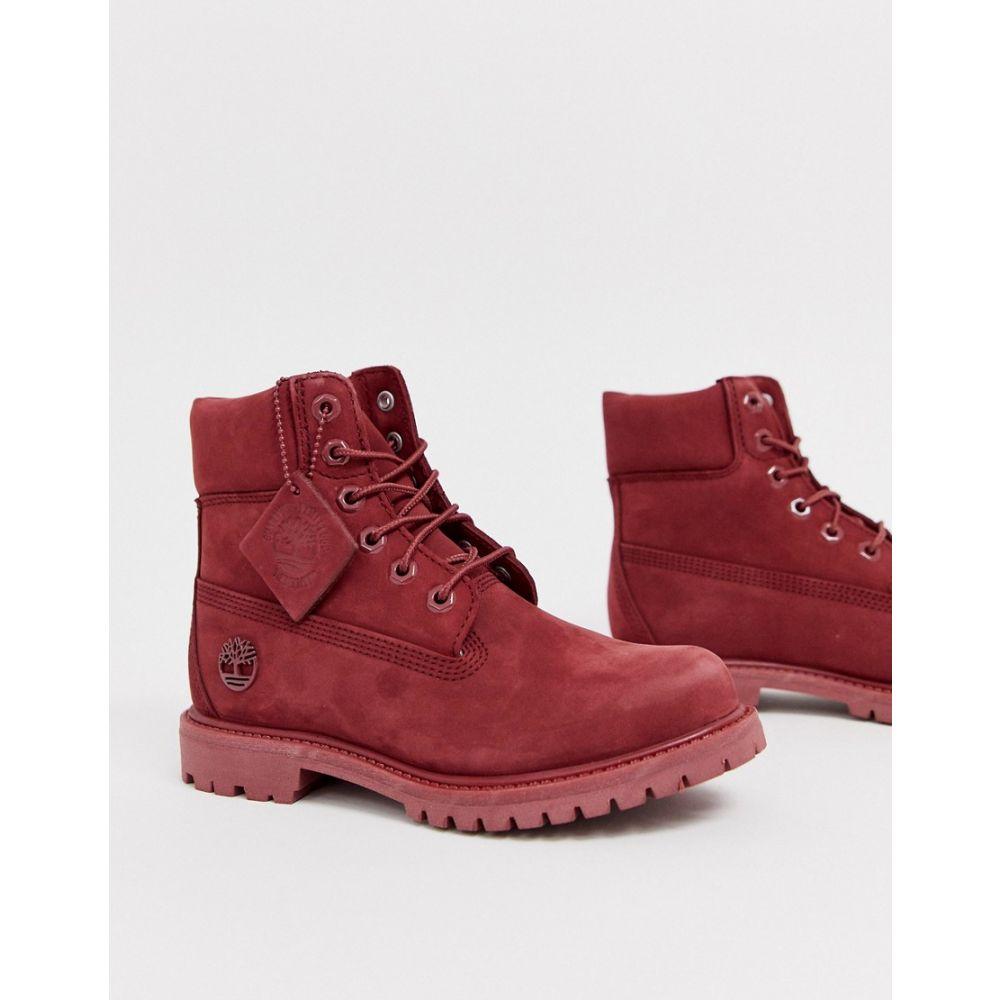 ティンバーランド Timberland レディース ブーツ レースアップブーツ シューズ・靴【6 Inch Premium dark red leather lace up flat boots】Dark red