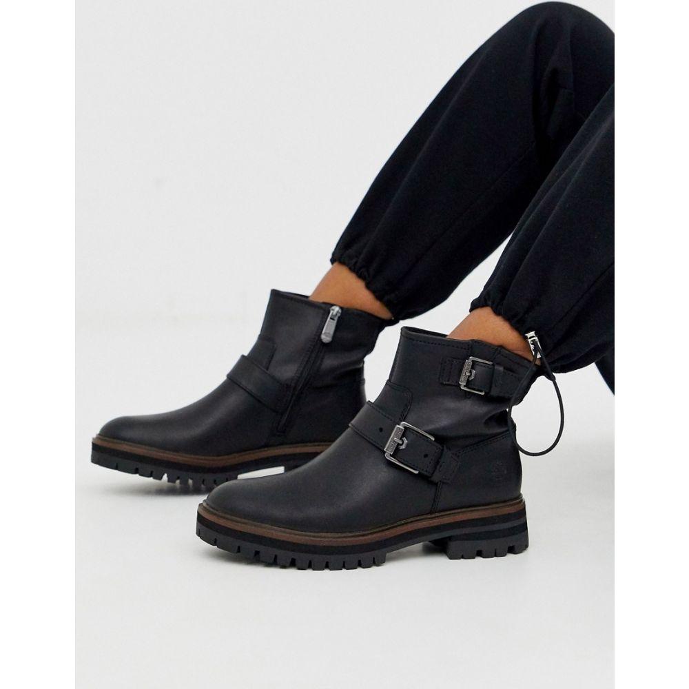 ティンバーランド Timberland レディース ハイキング・登山 ブーツ シューズ・靴【London Square black leather full grain flat hiker boots】Black leather full g