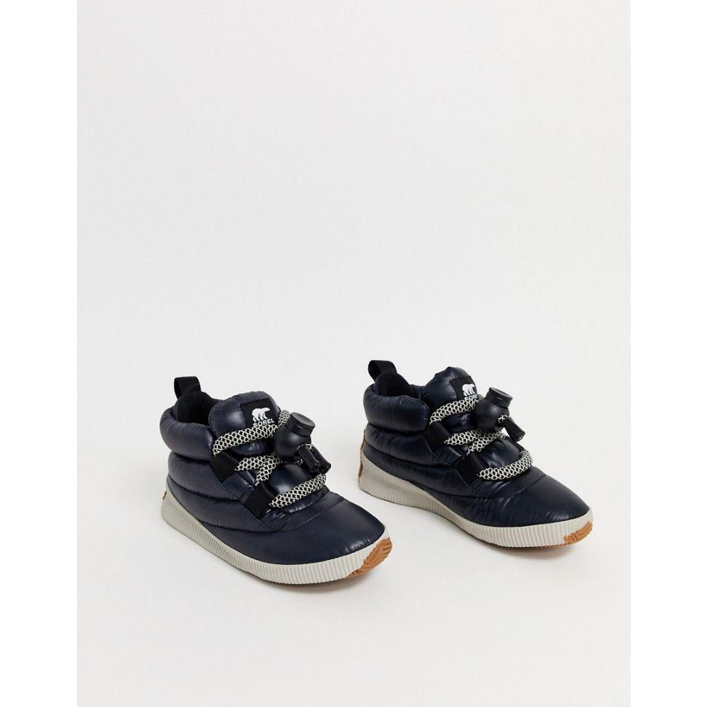 ソレル Sorel レディース ブーツ シューズ・靴【Out N About Puffy Lace black waterproof flat boots with toggle fastening】Black