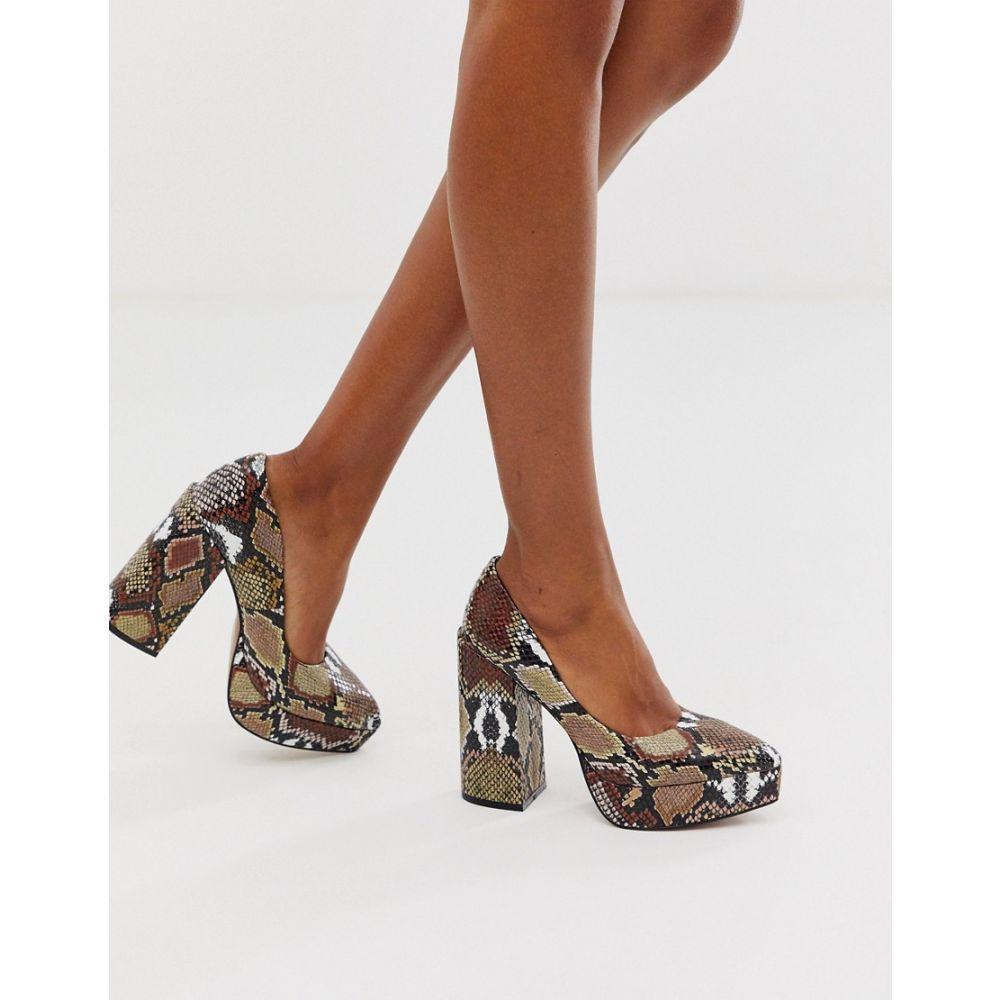 エイソス ASOS DESIGN レディース パンプス チャンキーヒール シューズ・靴【Prime chunky platform high heeled court shoes in brown snake】Multi snake