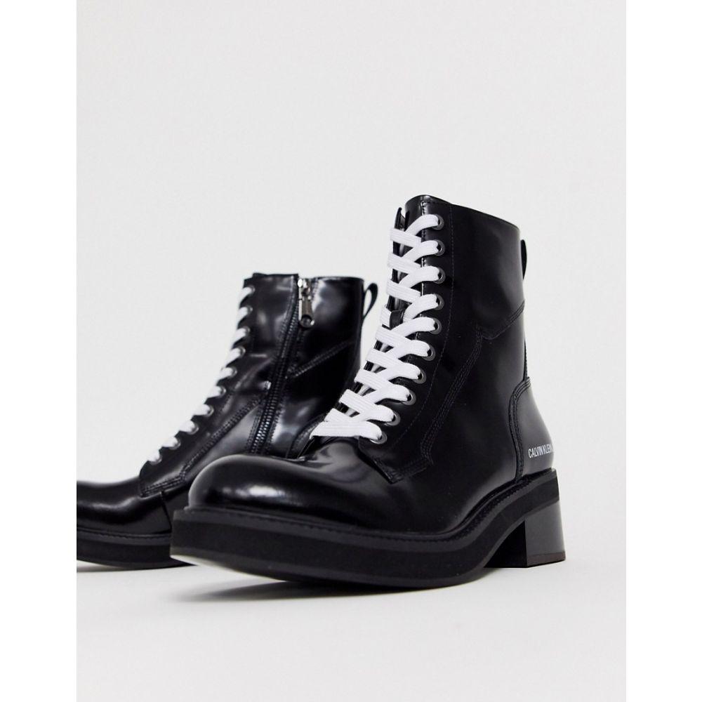 カルバンクライン Calvin Klein レディース ブーツ ショートブーツ レースアップブーツ シューズ・靴【Ebba chunky lace up leather ankle boots in black】Black