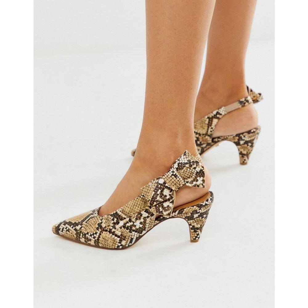 オフィス Office レディース ヒール シューズ・靴【Memo snake print kitten heeled slingback shoes】Snake pu