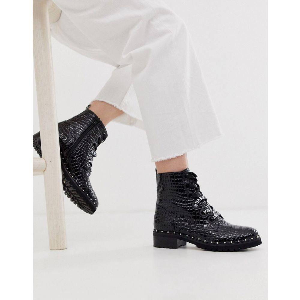 スティーブ マデン Steve Madden レディース ブーツ ショートブーツ シューズ・靴【Tess flat studded ankle boots in black croc leather】Black leather croco