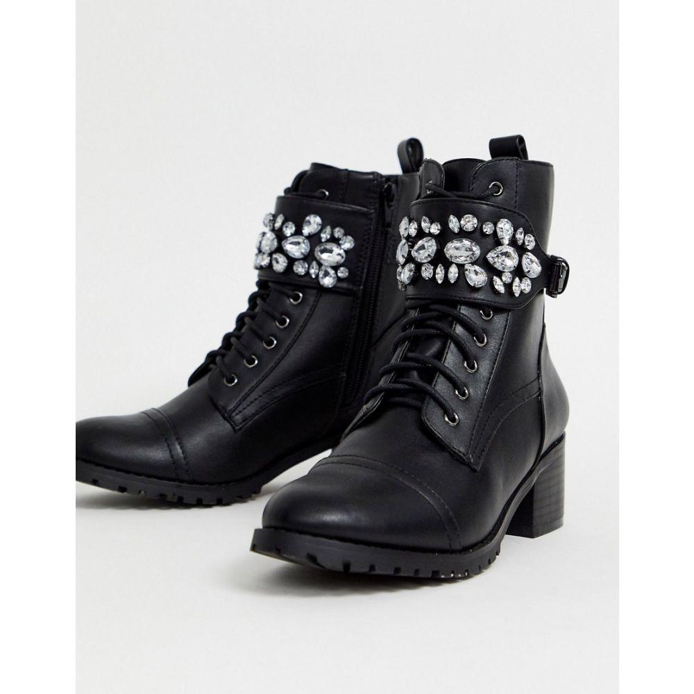 ヘッドオーバーヒールズ Head Over Heels by Dune レディース ブーツ ショートブーツ シューズ・靴【Head Over Heels Perlo jewelled strap mid heeled biker ankle boots】Black