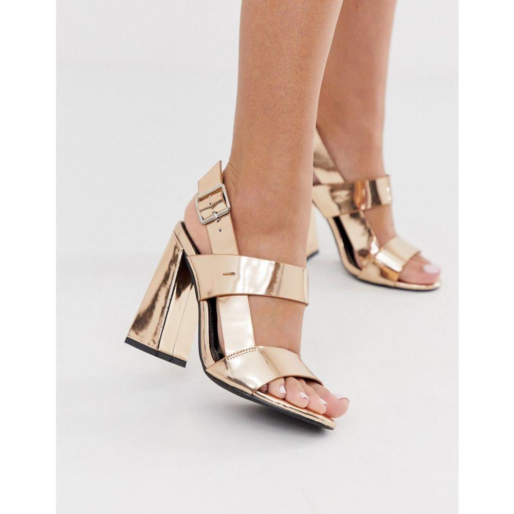 コー レン Co Wren レディース サンダル・ミュール シューズ・靴【curved block heeled sandals in rose gold】Rose gold