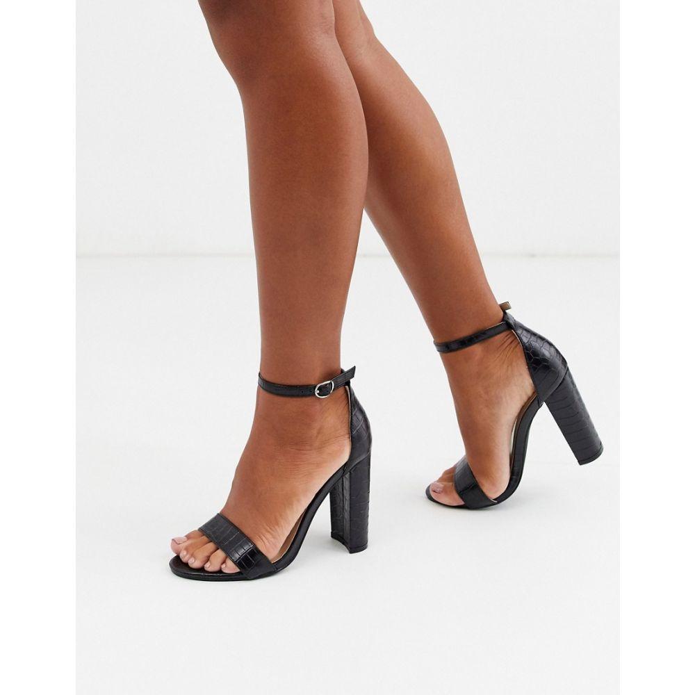 グラマラス Glamorous レディース サンダル・ミュール シューズ・靴【black croc heeled sandals】Black croc