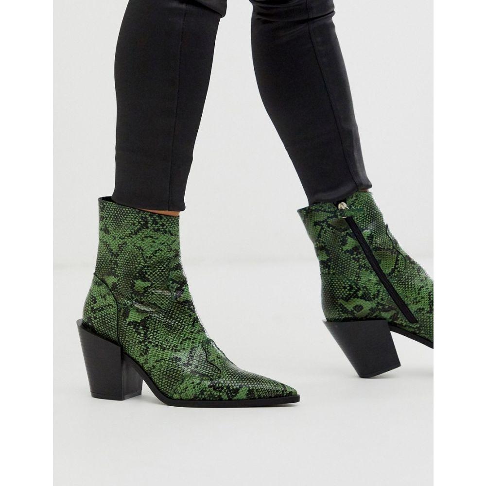 トリュフコレクション Truffle Collection レディース ブーツ ウエスタンブーツ シューズ・靴【pointed western boot in green snake】Green snake