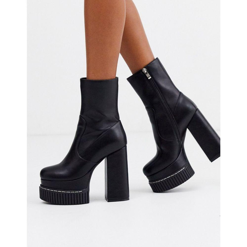 ラ モーダ Lamoda レディース ブーツ チャンキーヒール シューズ・靴【chunky platform sock boots in black】Black