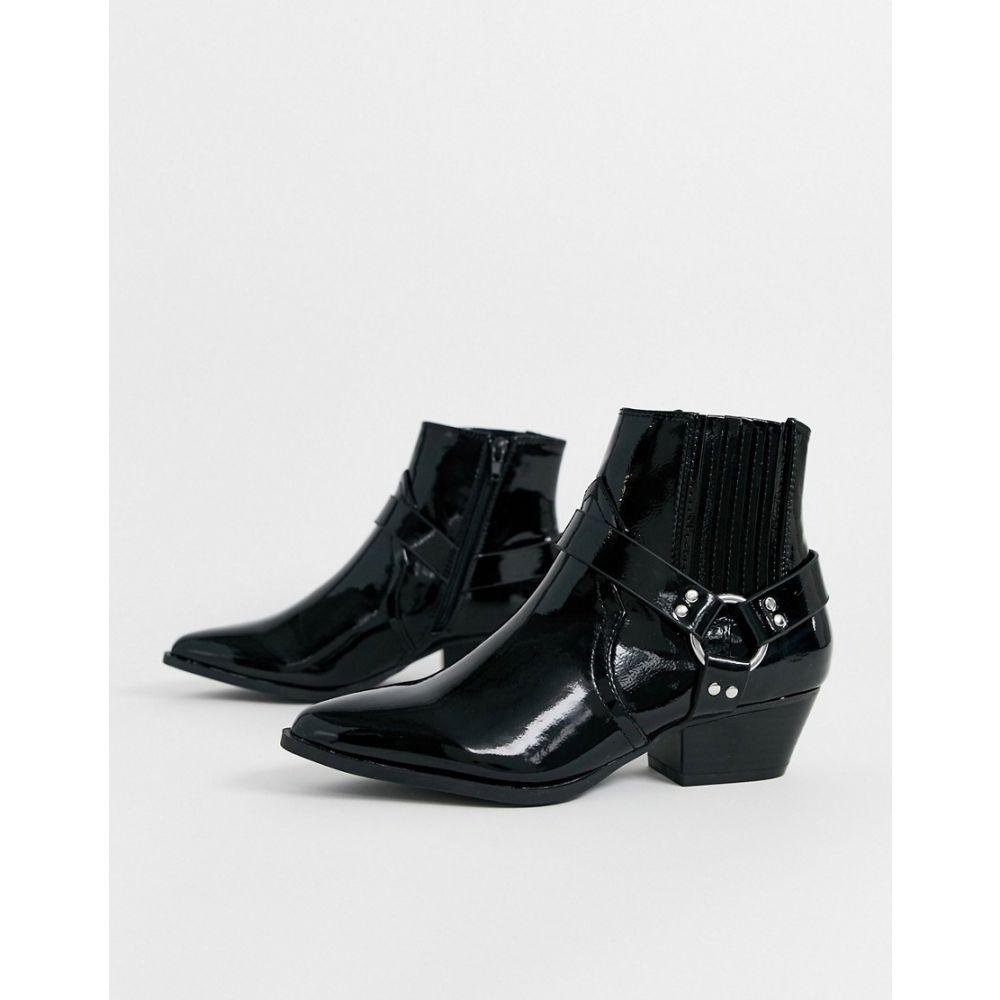 リバーアイランド River Island レディース ブーツ ウェスタンブーツ シューズ・靴【western detail boots in black】Black