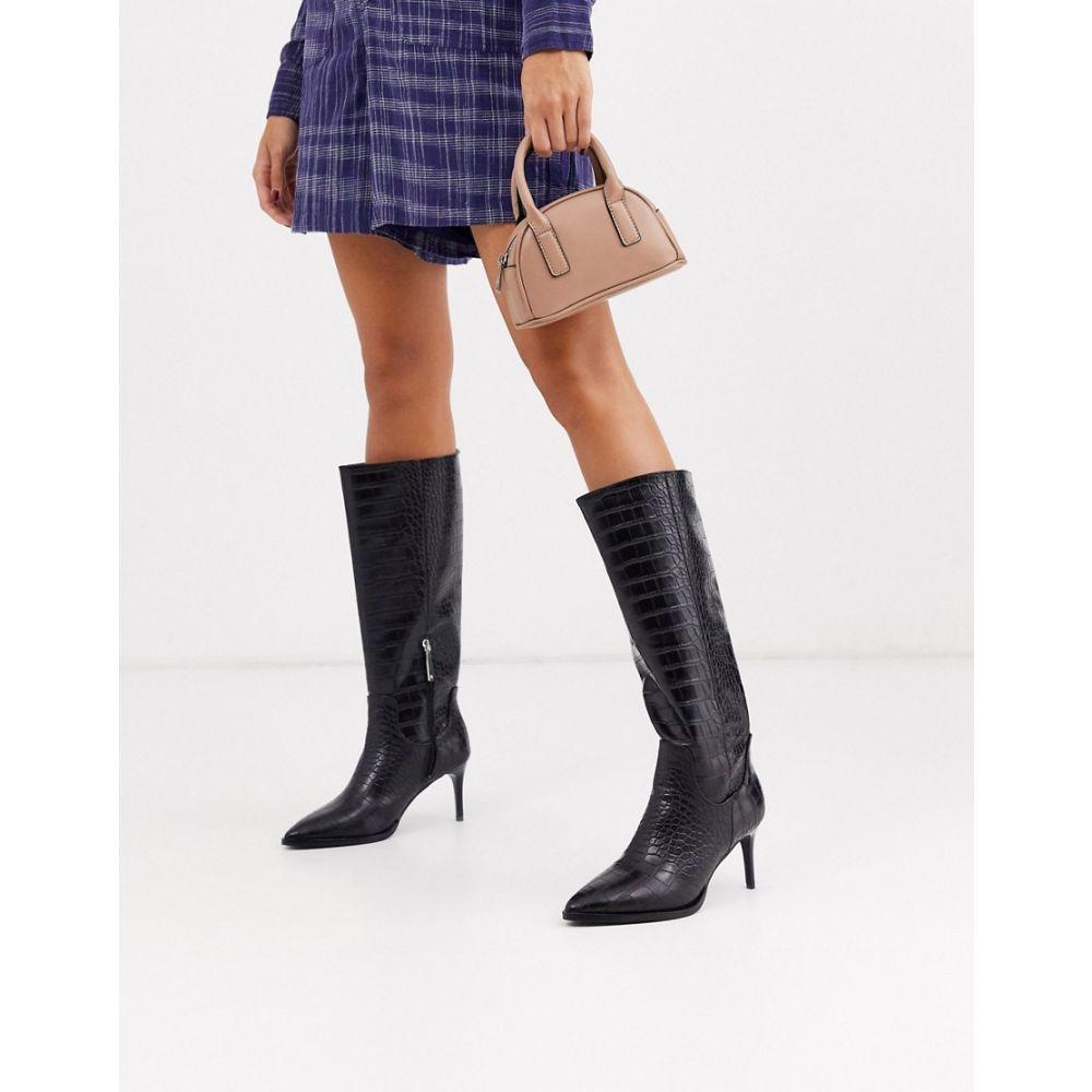 リバーアイランド River Island レディース ブーツ ロングブーツ ピンヒール シューズ・靴【knee high stiletto heeled boot in black croc】Black croc