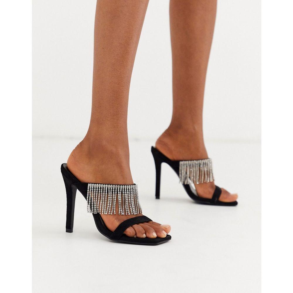 ブーフー Boohoo レディース サンダル・ミュール スクエアトゥ シューズ・靴【square toe heeled sandal with crystals in black】Black