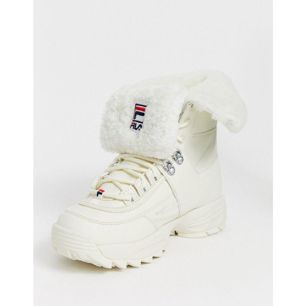 フィラ Fila レディース ブーツ シューズ・靴【Disruptor boot with fur trim in white】White