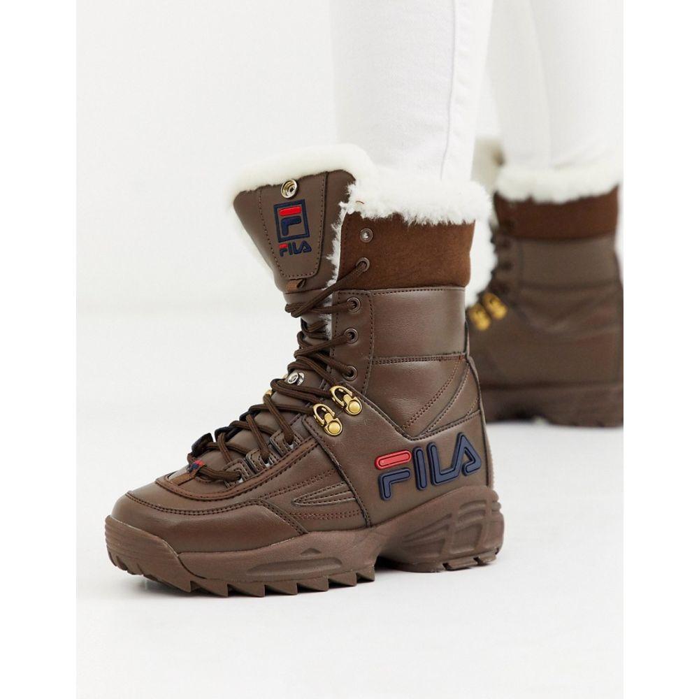 フィラ Fila レディース ブーツ シューズ・靴【Disruptor boot with faux fur trim in brown】Khaki