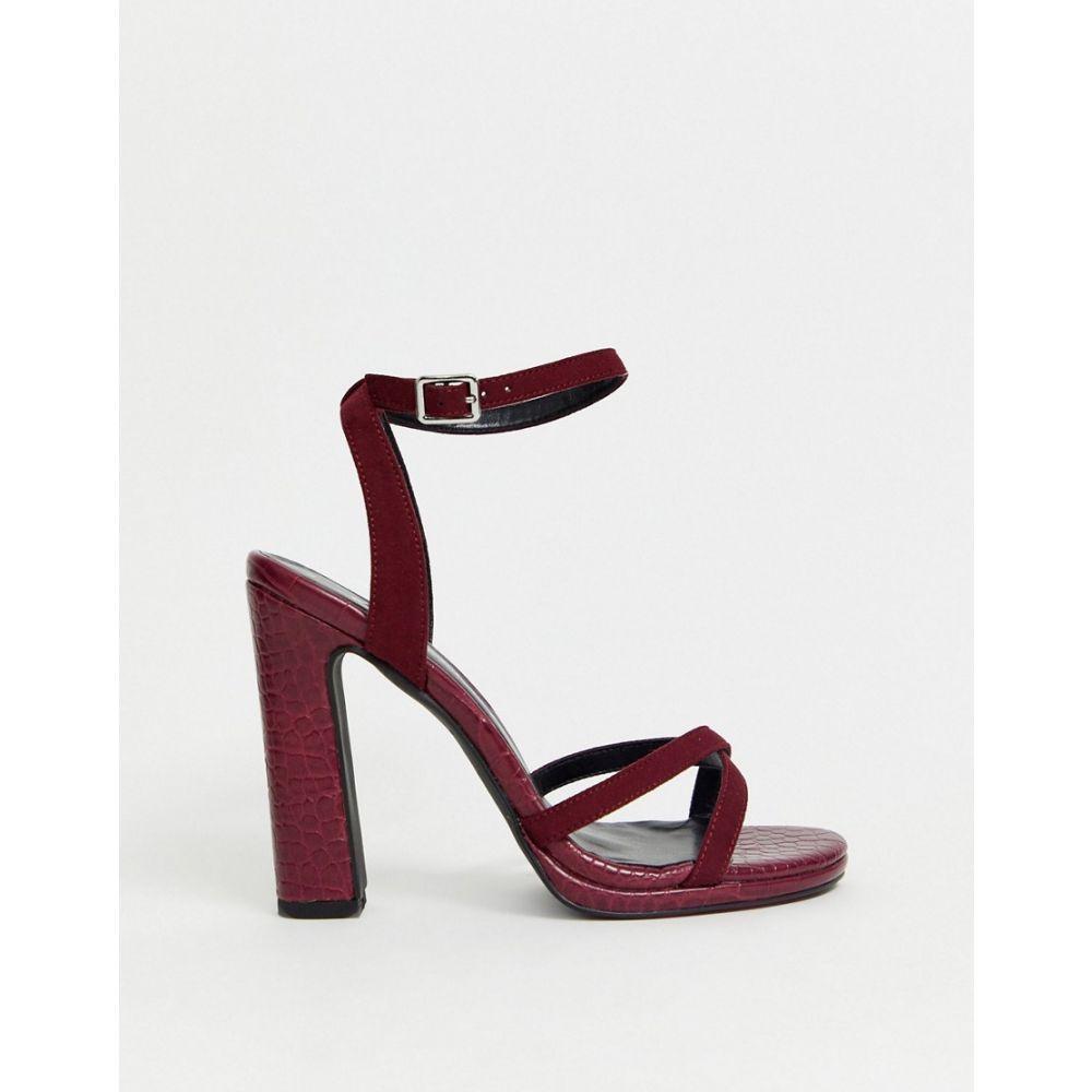 ニュールック New Look レディース サンダル・ミュール シューズ・靴【platform heeled sandals in dark red PU croc】Red