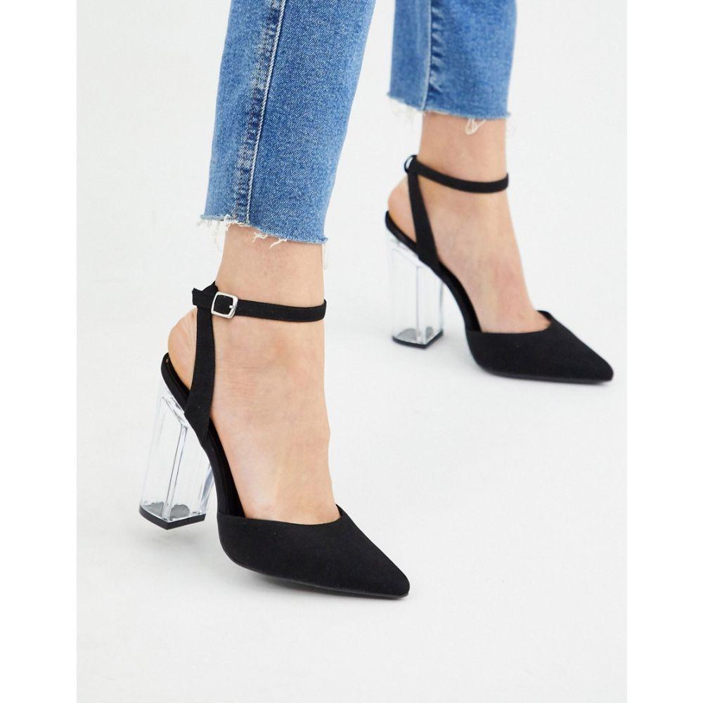 ニュールック New Look レディース ヒール シューズ・靴【clear heeled shoes in black】Black