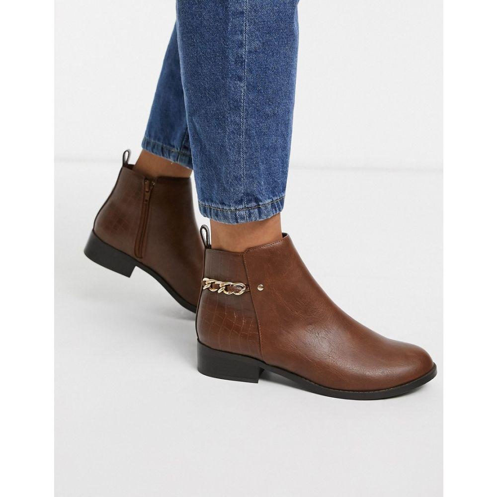 ニュールック New Look レディース ブーツ ショートブーツ シューズ・靴【chain back ankle boots in brown】Tan