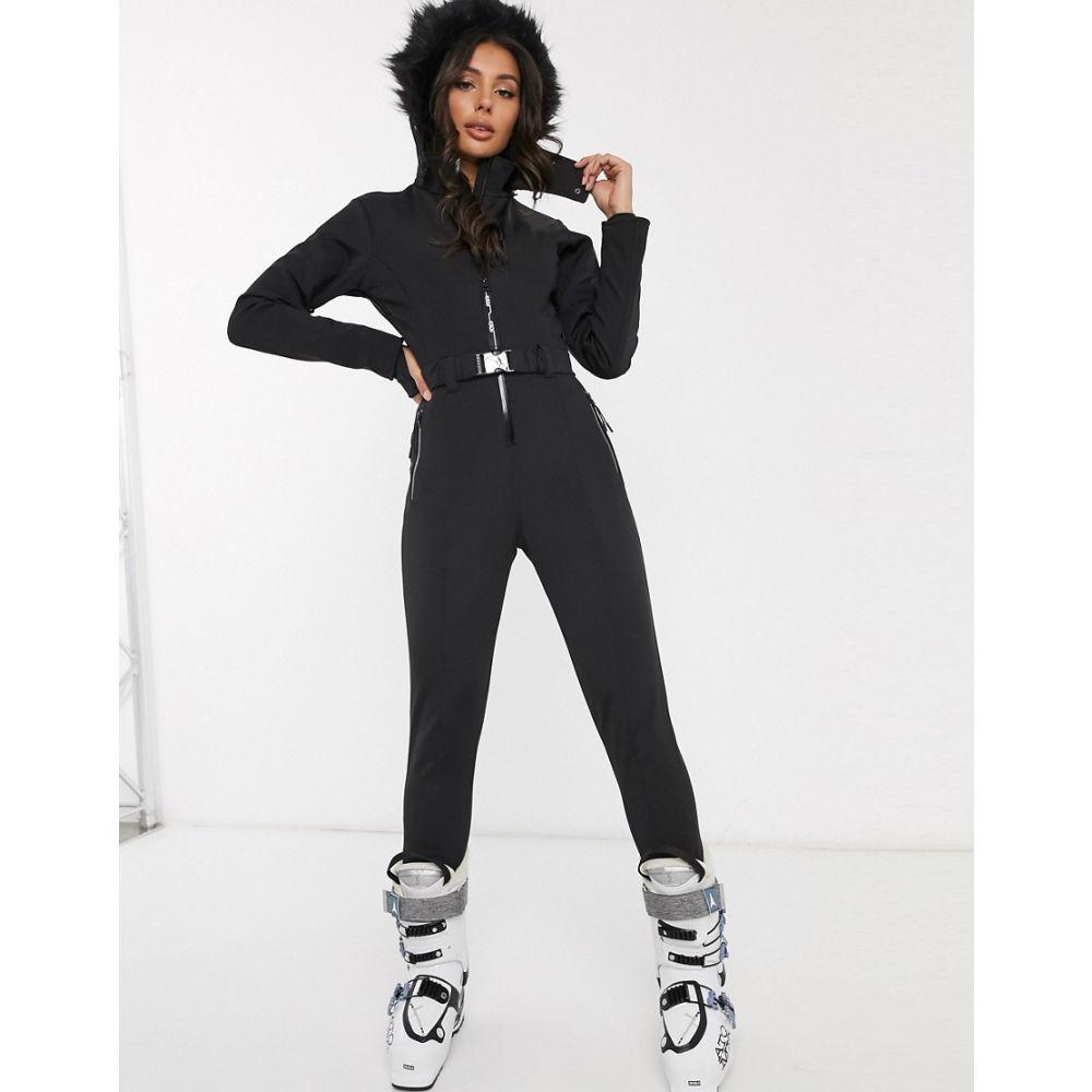 エイソス ASOS 4505 レディース スキー・スノーボード ツナギ アウター【ski fitted belted ski suit with fur hood】Black
