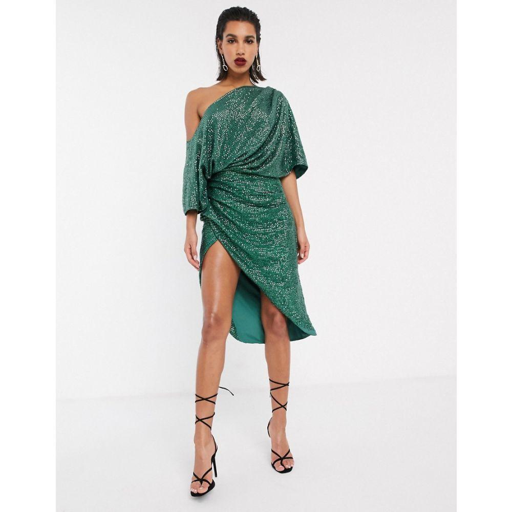 エイソス ASOS EDITION レディース ワンピース ミドル丈 ワンピース・ドレス【drape asymmetric midi dress in sequin】Green