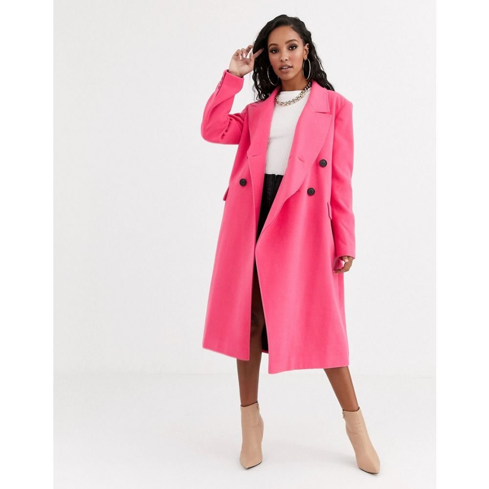 エイソス ASOS DESIGN レディース コート アウター【asymmetric front formal coat in pink】Pink