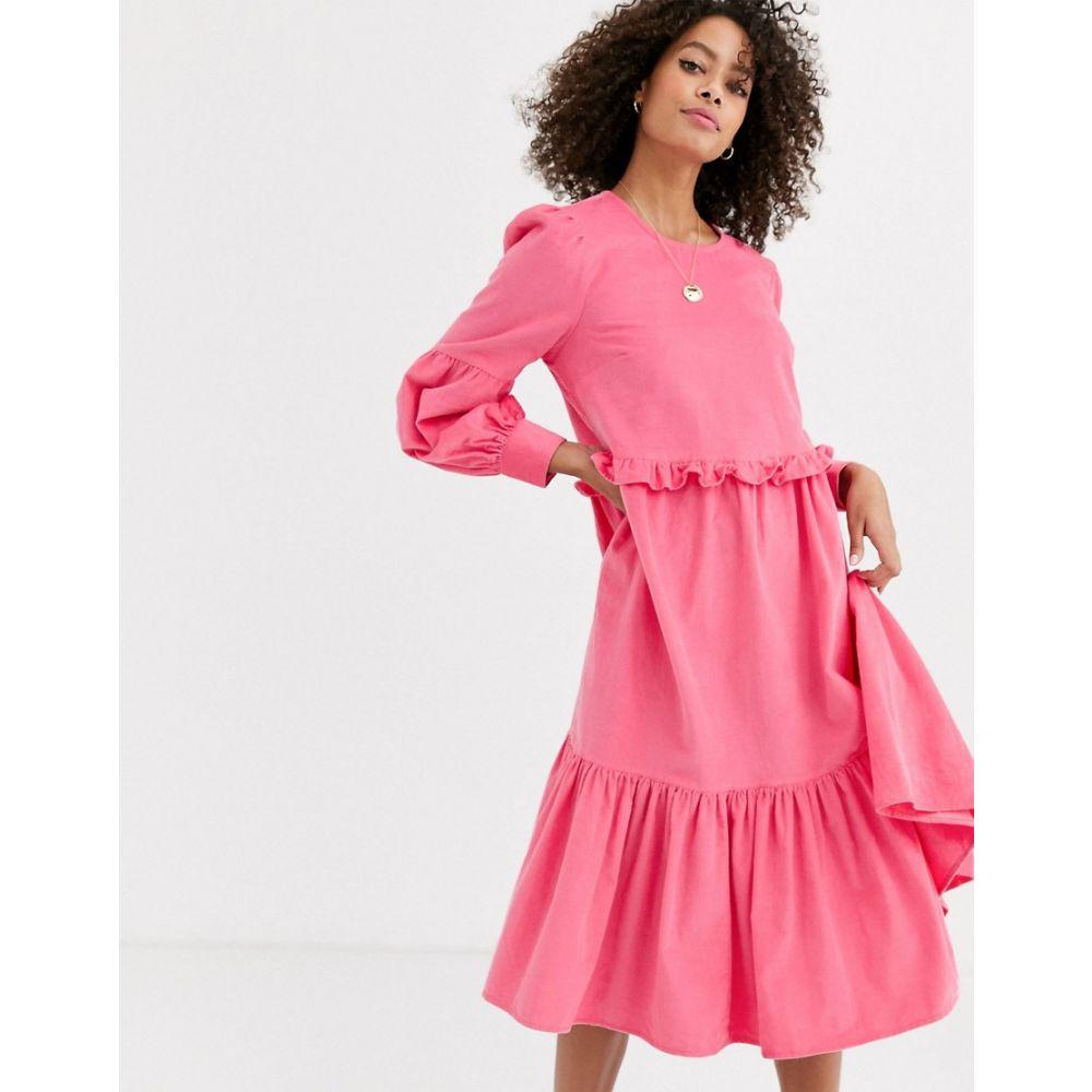 エイソス ASOS DESIGN レディース ワンピース ミドル丈 ワンピース・ドレス【cord midi smock dress in bright pink】Pink