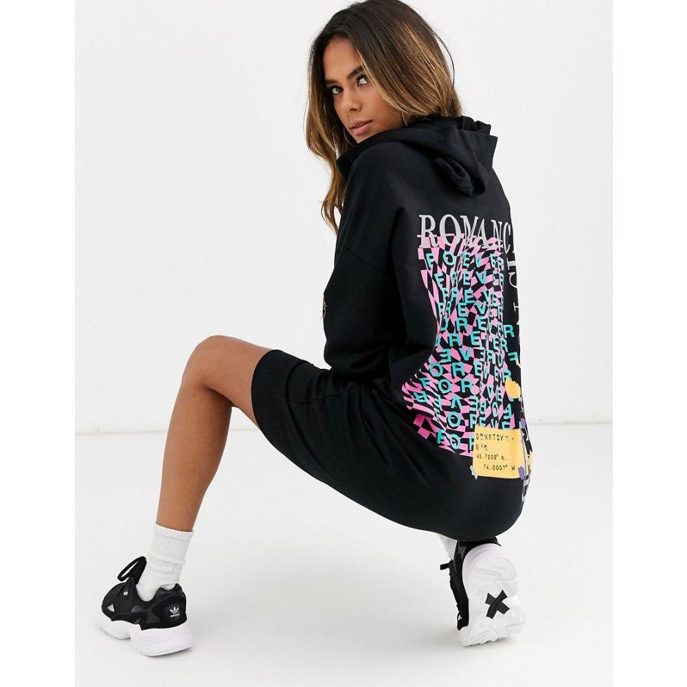 エイソス ASOS DESIGN レディース ワンピース パーカーワンピース ワンピース・ドレス【forever hoodie sweat dress】Black