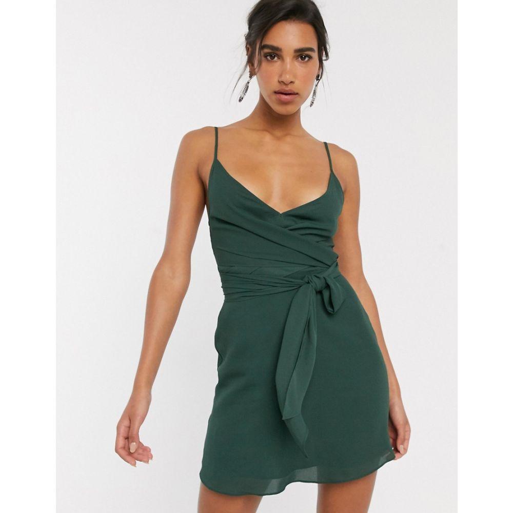 エイソス ASOS DESIGN レディース ワンピース ラップドレス キャミワンピ ワンピース・ドレス【cami wrap mini dress with tie waist】Forest green