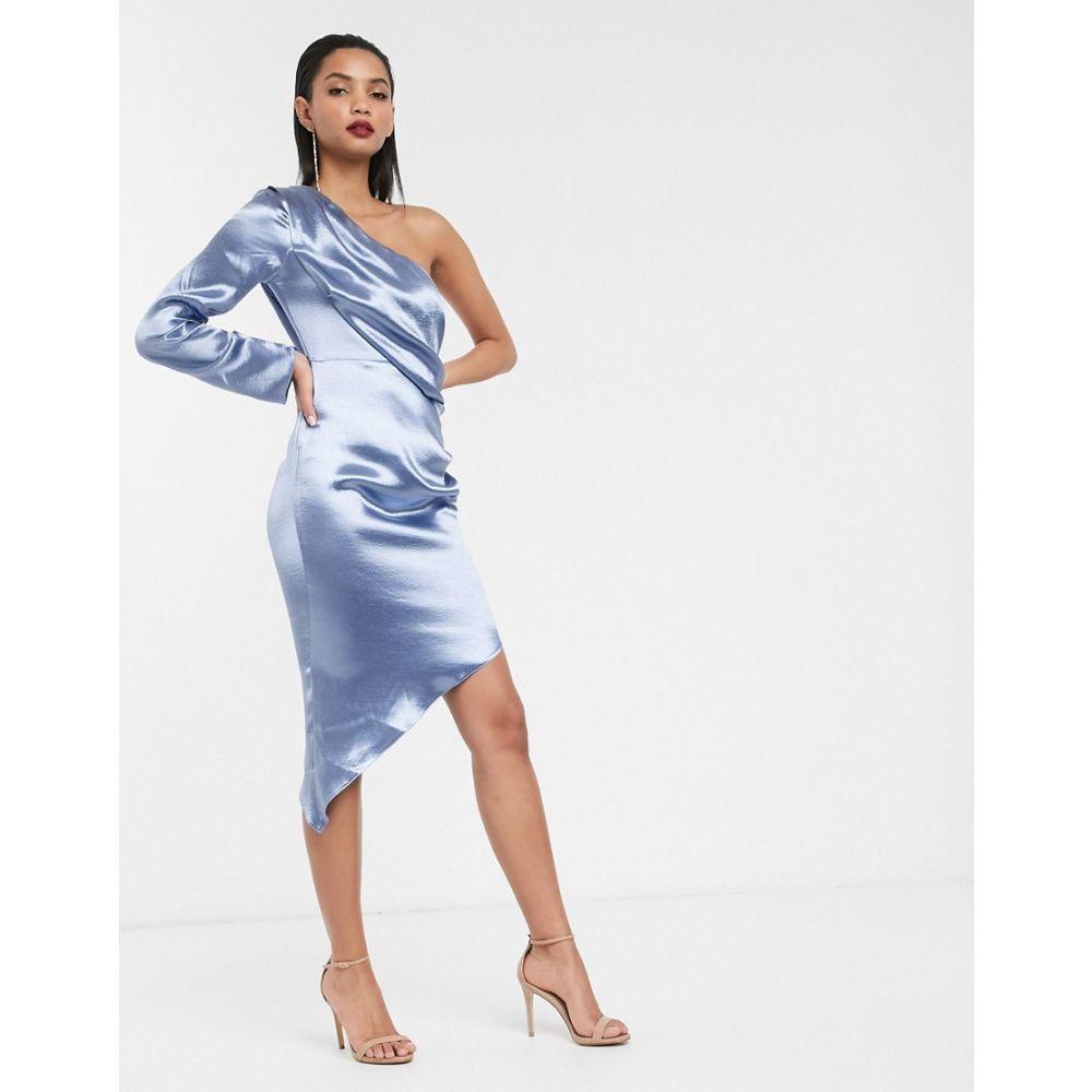 エイソス ASOS DESIGN レディース ワンピース ラップドレス ラップスカート ワンピース・ドレス【one shoulder midi dress with wrap skirt】Steel blue