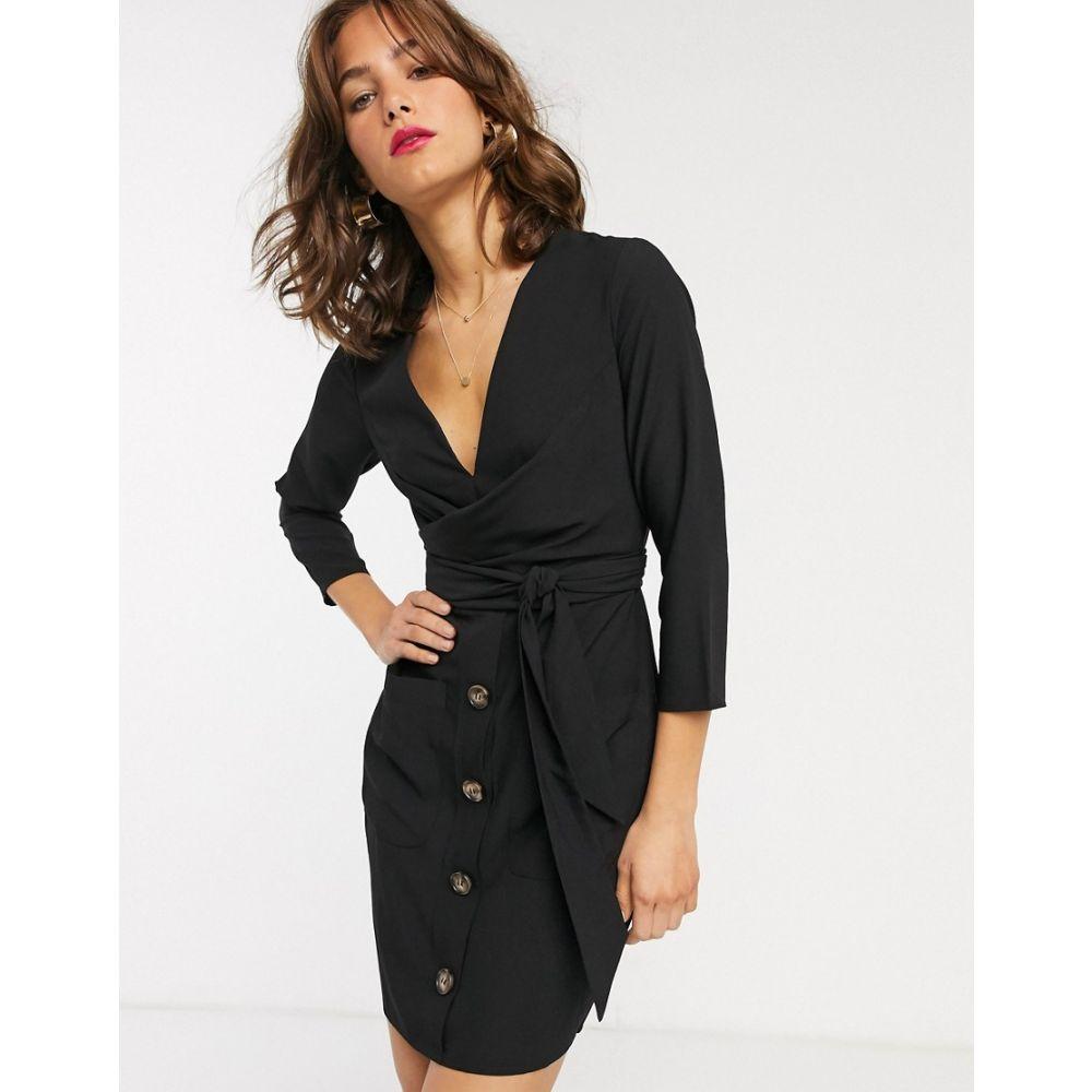 エイソス ASOS DESIGN レディース ワンピース ラップドレス ミニ丈 ワンピース・ドレス【button through tie wrap around mini dress】Black