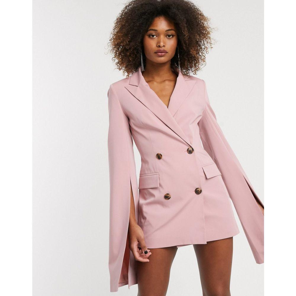 エイソス ASOS DESIGN レディース スーツ・ジャケット アウター【premium longerline split sleeve blazer】Blush