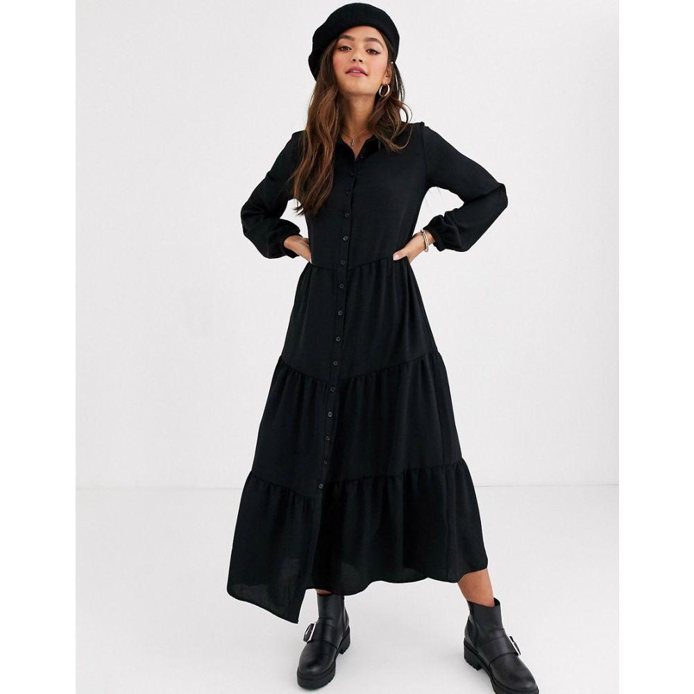 ニュールック New Look レディース ワンピース シャツワンピース ワンピース・ドレス【maxi shirt dress in black】Black