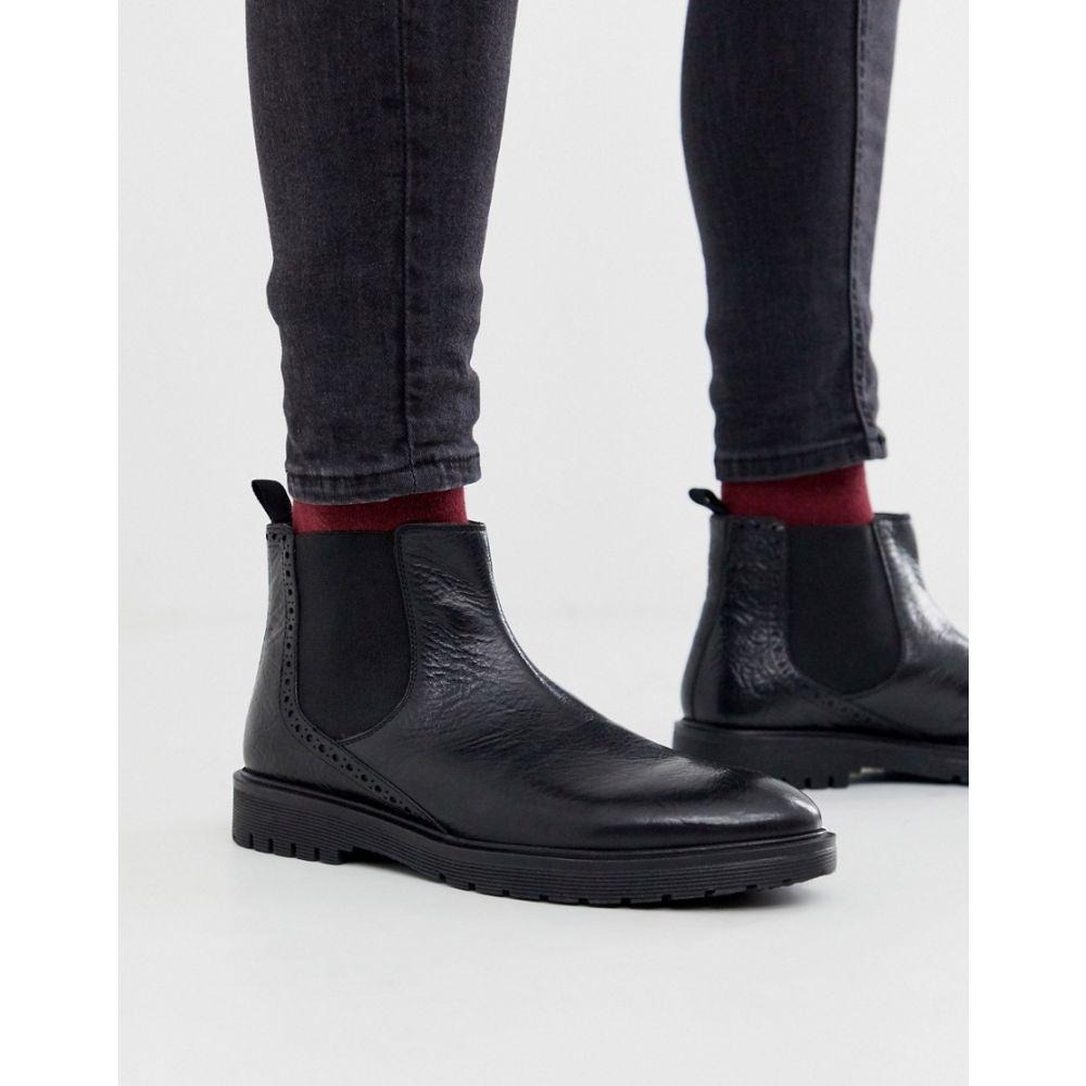 デューン Dune メンズ ブーツ チェルシーブーツ チャンキーヒール シューズ・靴【leather chunky chelsea boot in black】Black