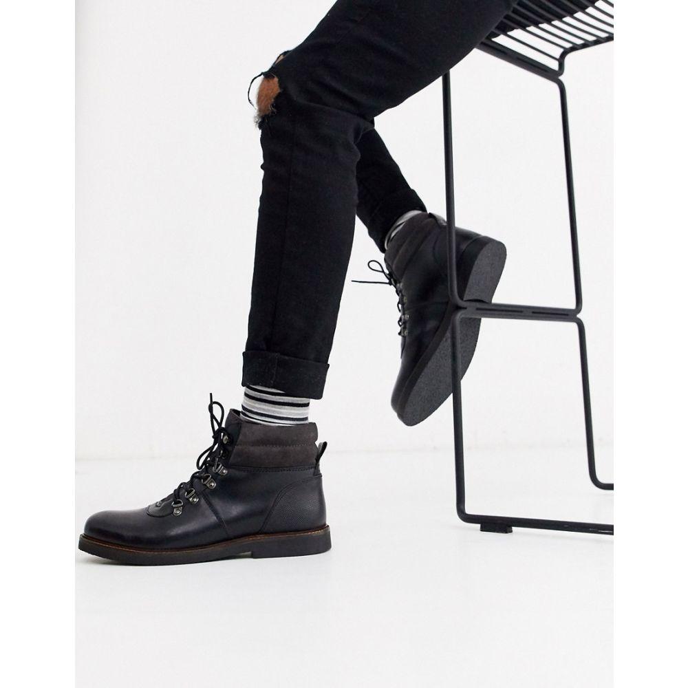 デューン Dune メンズ ハイキング・登山 ブーツ シューズ・靴【leather chunky hiker boot in black】Black