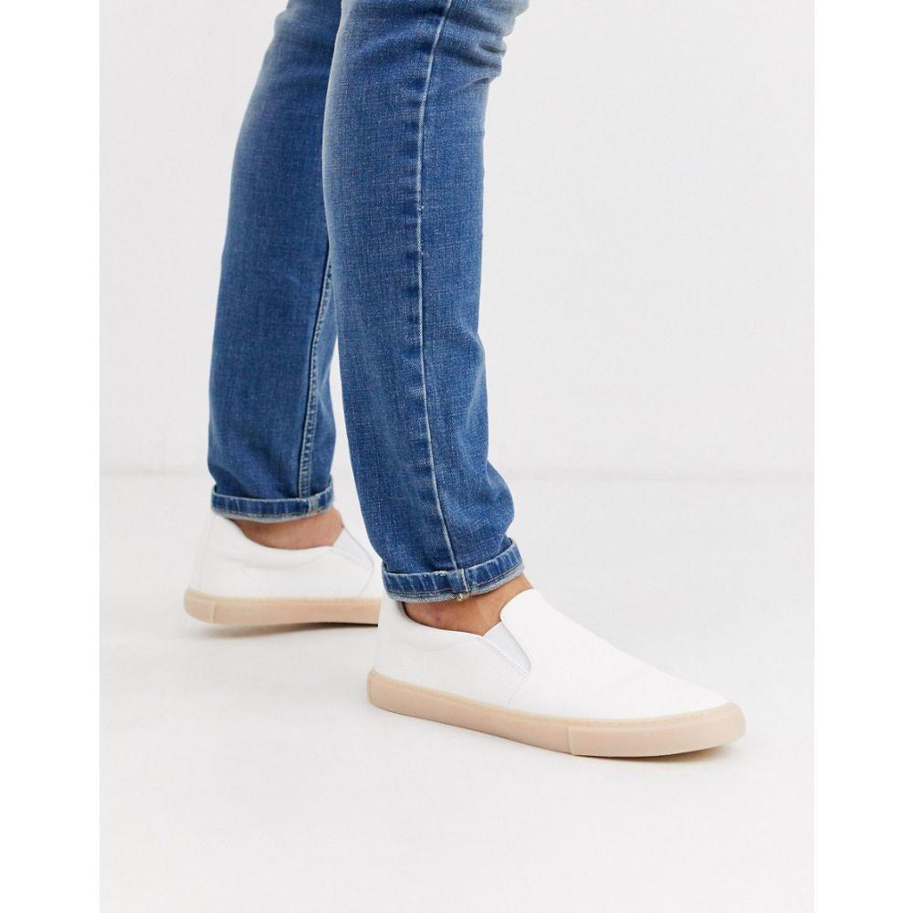 エイソス ASOS DESIGN メンズ スリッポン・フラット シューズ・靴【slip on plimsolls in white leather look with gum sole】White