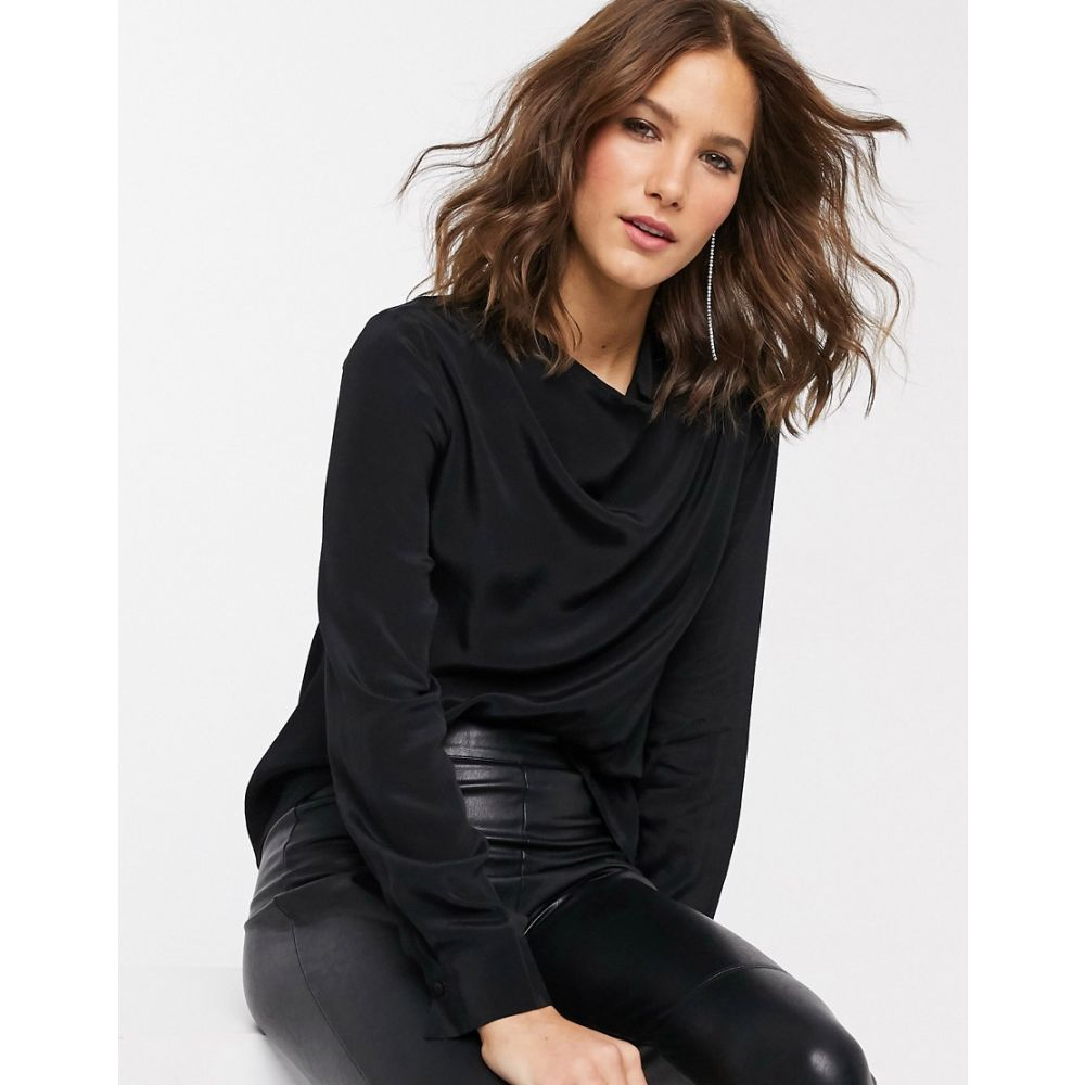 ウェアハウス Warehouse レディース ブラウス・シャツ トップス【blouse with cowl neck in black】Black