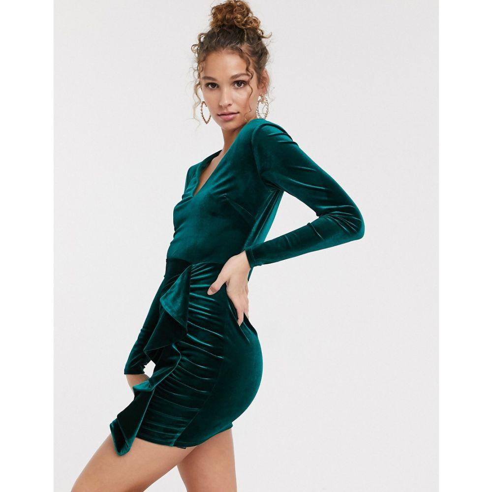 ミス セルフリッジ Miss Selfridge レディース ワンピース ワンピース・ドレス【velvet dress with ruffle detail in green】Green