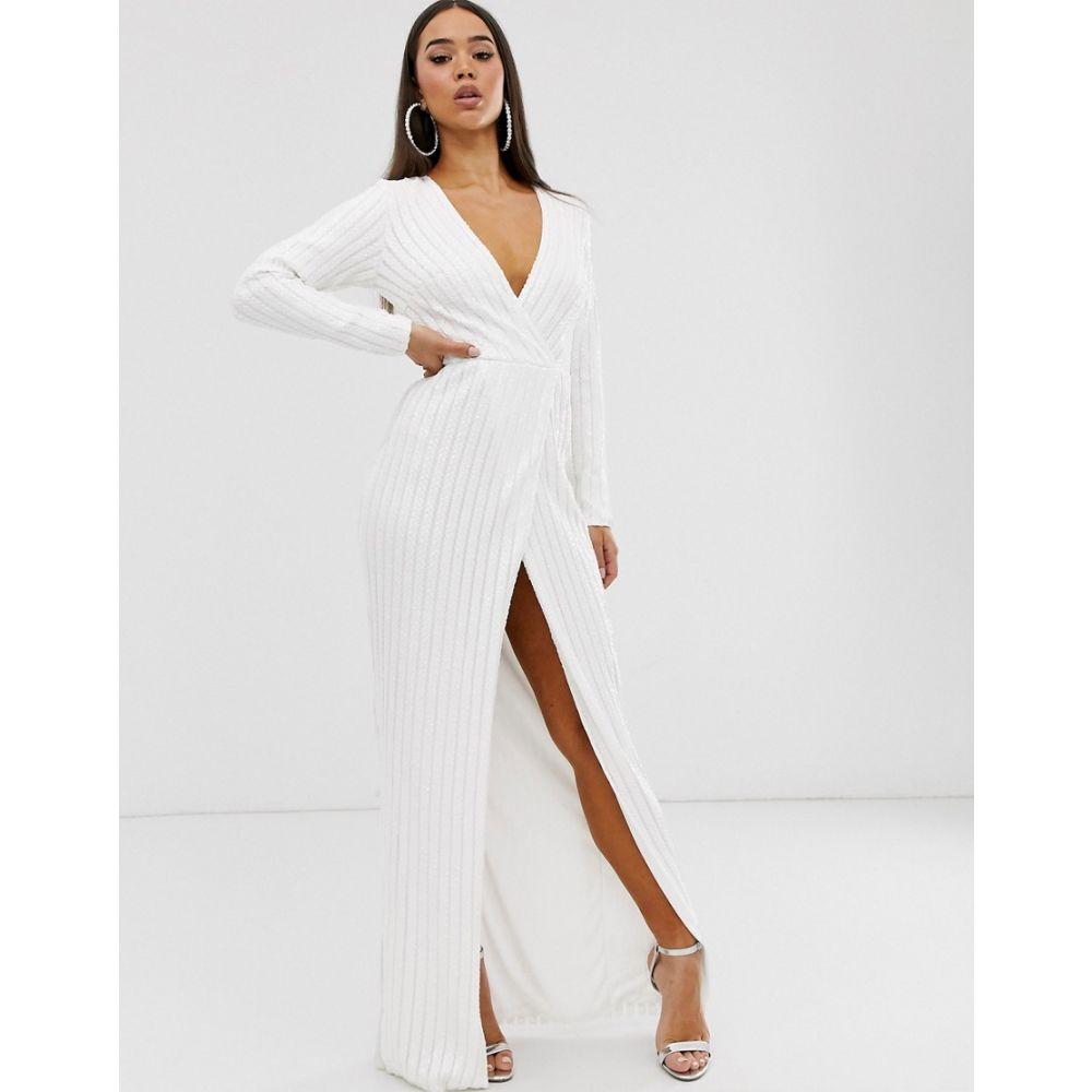 クラブエル ロンドン Club L London レディース ワンピース ラップドレス ワンピース・ドレス【sequin wrap dress】White