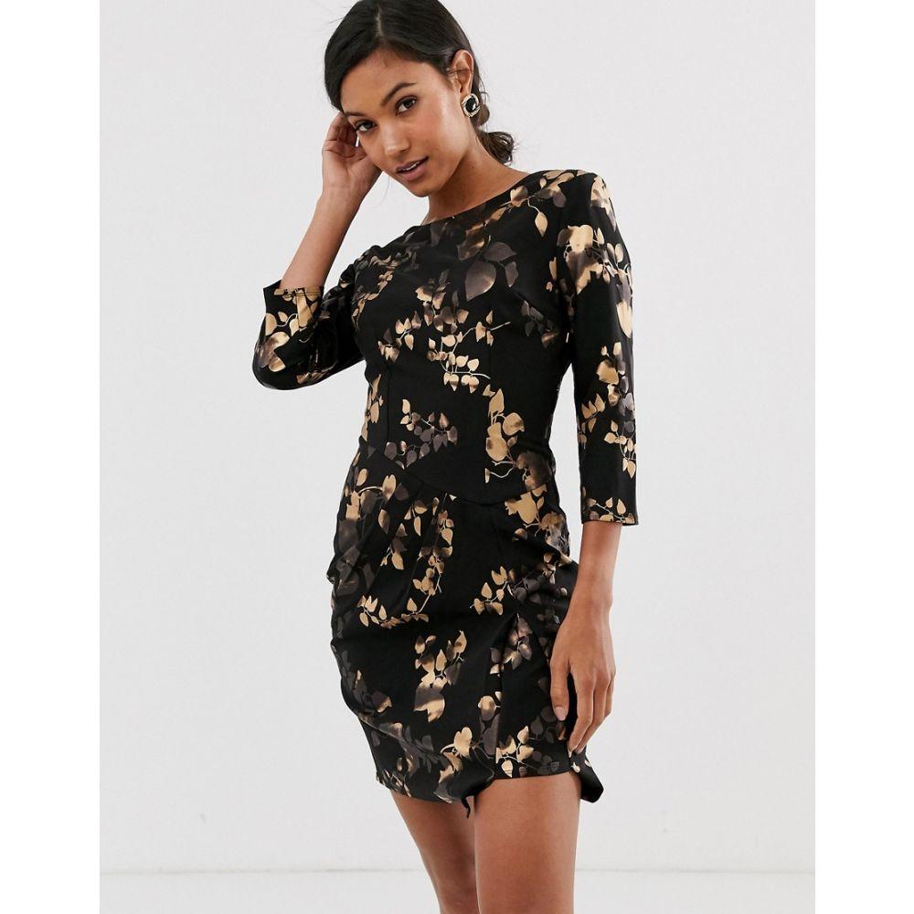 リトル ミストレス Little Mistress レディース ボディコンドレス ワンピース・ドレス【floral three quarter bodycon dress】Black