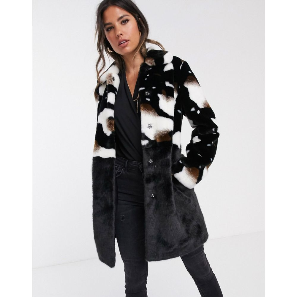 バーニーズ オリジナル Barneys Originals レディース コート ファーコート アウター【Barney's Originals faux fur coat in cow print】Cow print/black
