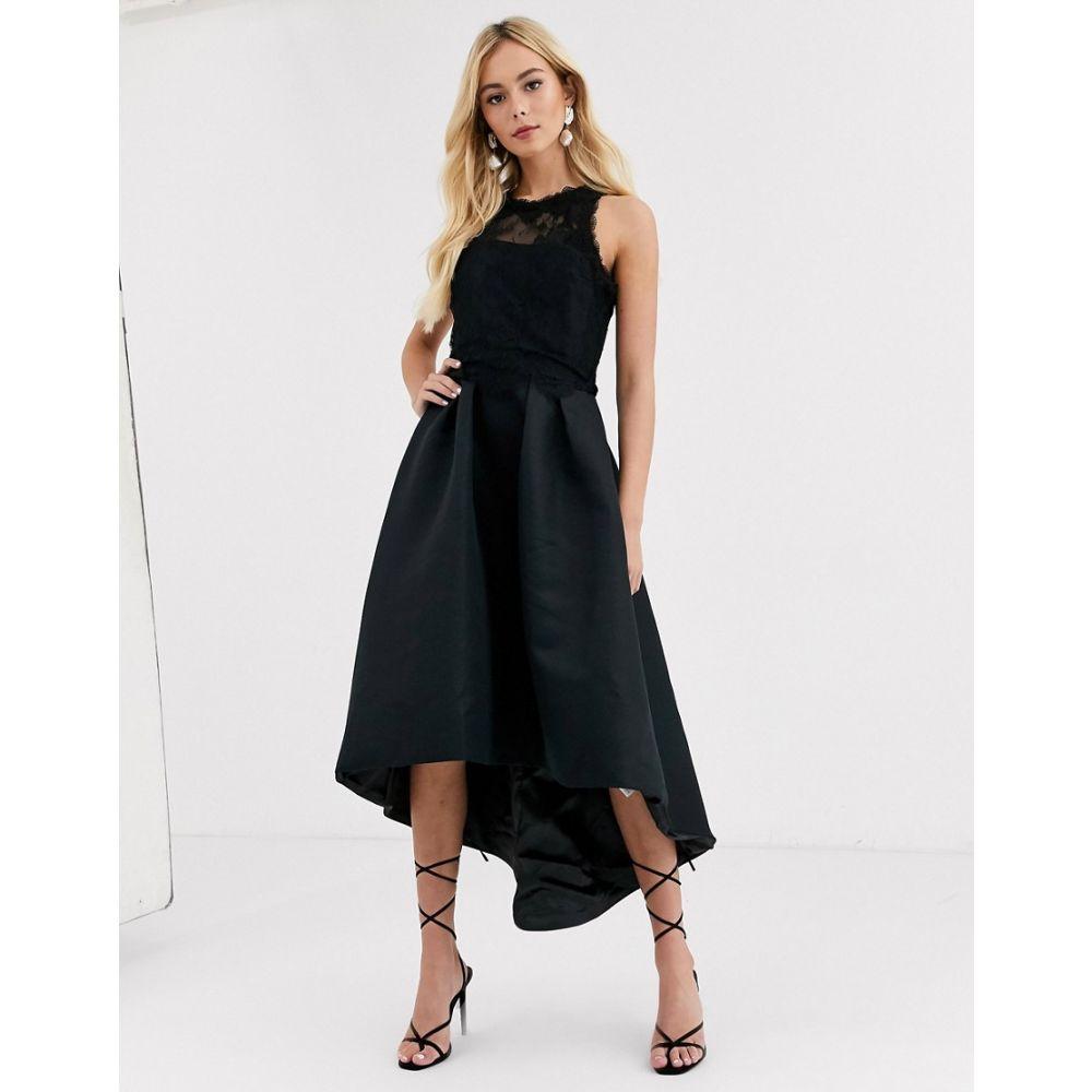 チチロンドン Chi Chi London レディース ワンピース ワンピース・ドレス【high low satin dress in black】Black