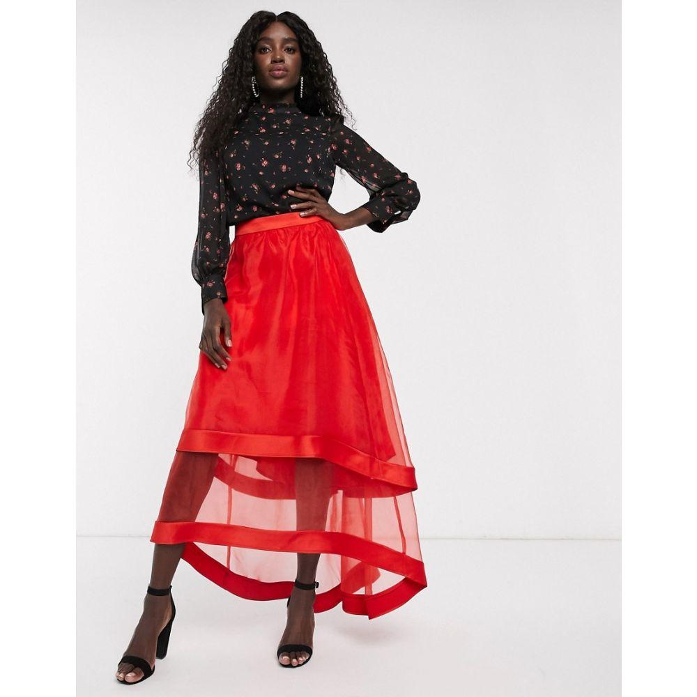 チチロンドン Chi Chi London レディース ロング・マキシ丈スカート スカート【high low organza maxi skirt in red】Red