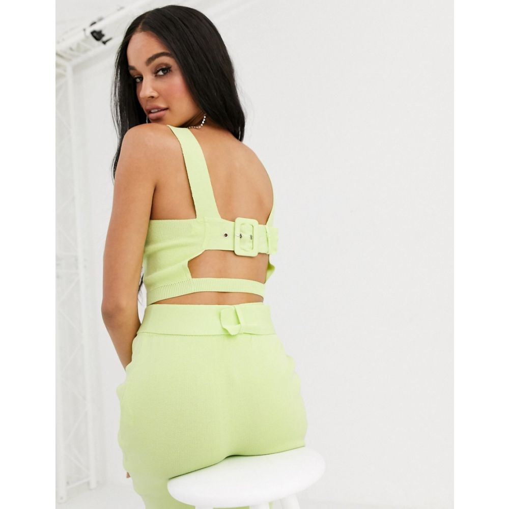 フォース&レックレス 4th + Reckless レディース ニット・セーター トップス【knitted square neck top with back belt detail in lime】Lime