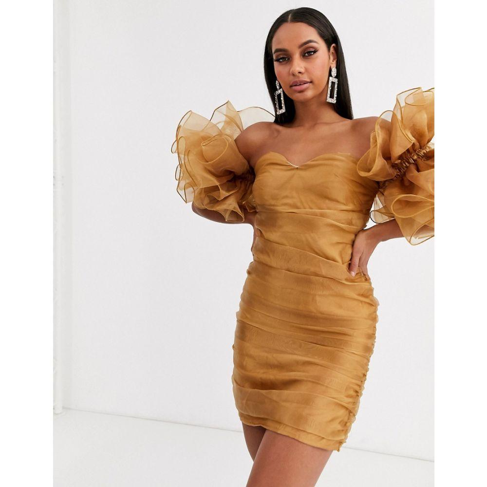 クラブエル ロンドン Club L London レディース ワンピース ミニ丈 ワンピース・ドレス【extreme ruffle sleeve ruched mini bardot dress in gold】Gold