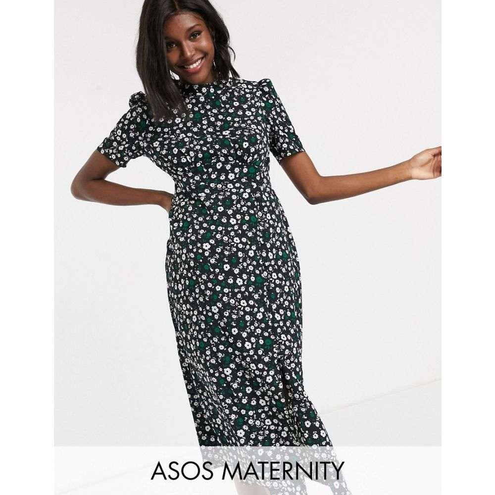 エイソス ASOS Maternity レディース ワンピース マタニティウェア ワンピース・ドレス【ASOS DESIGN Maternity midi tea dress with buttons in floral print】Black based floral
