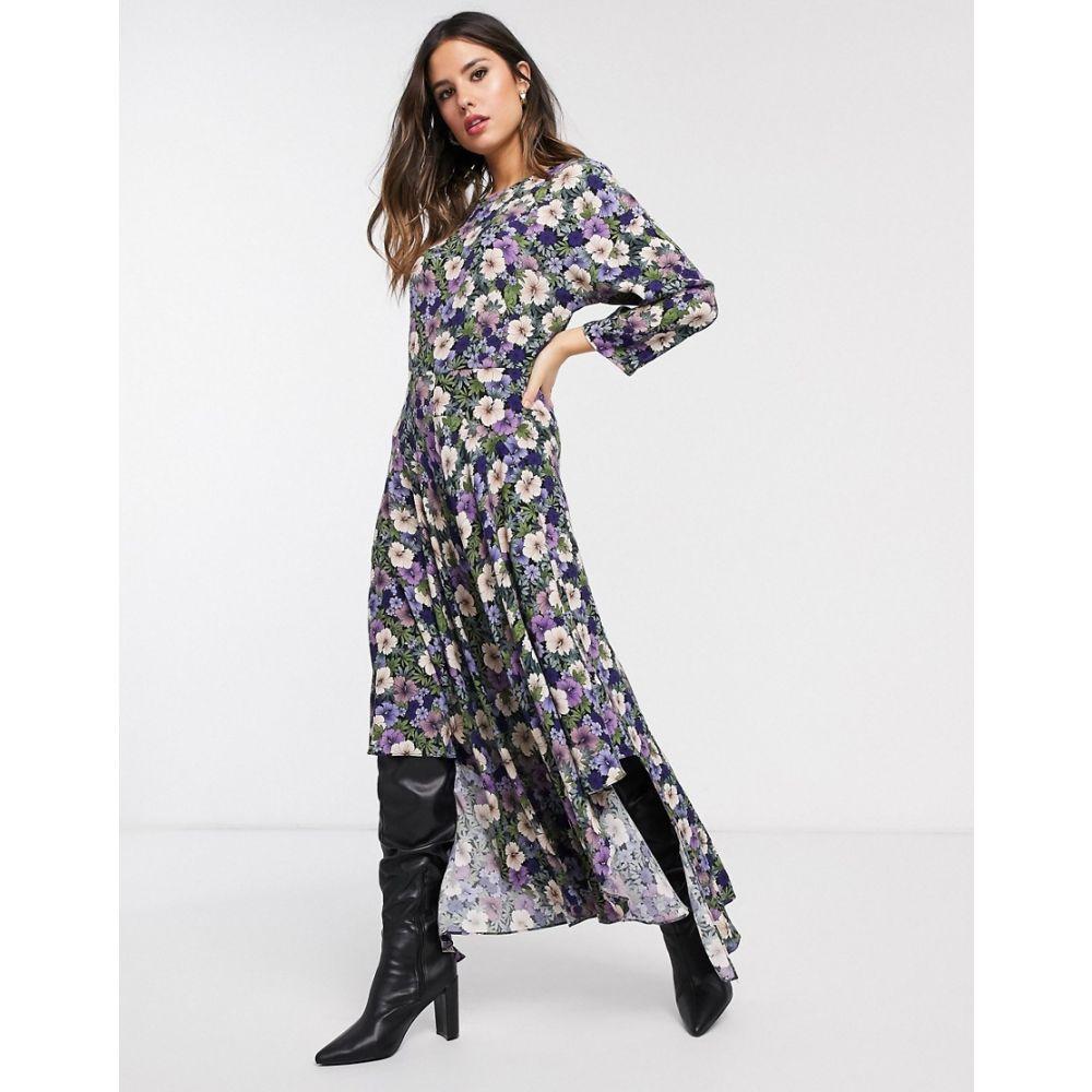 ウェアハウス Warehouse レディース ワンピース ワンピース・ドレス【midi dress in purple floral print】Multi