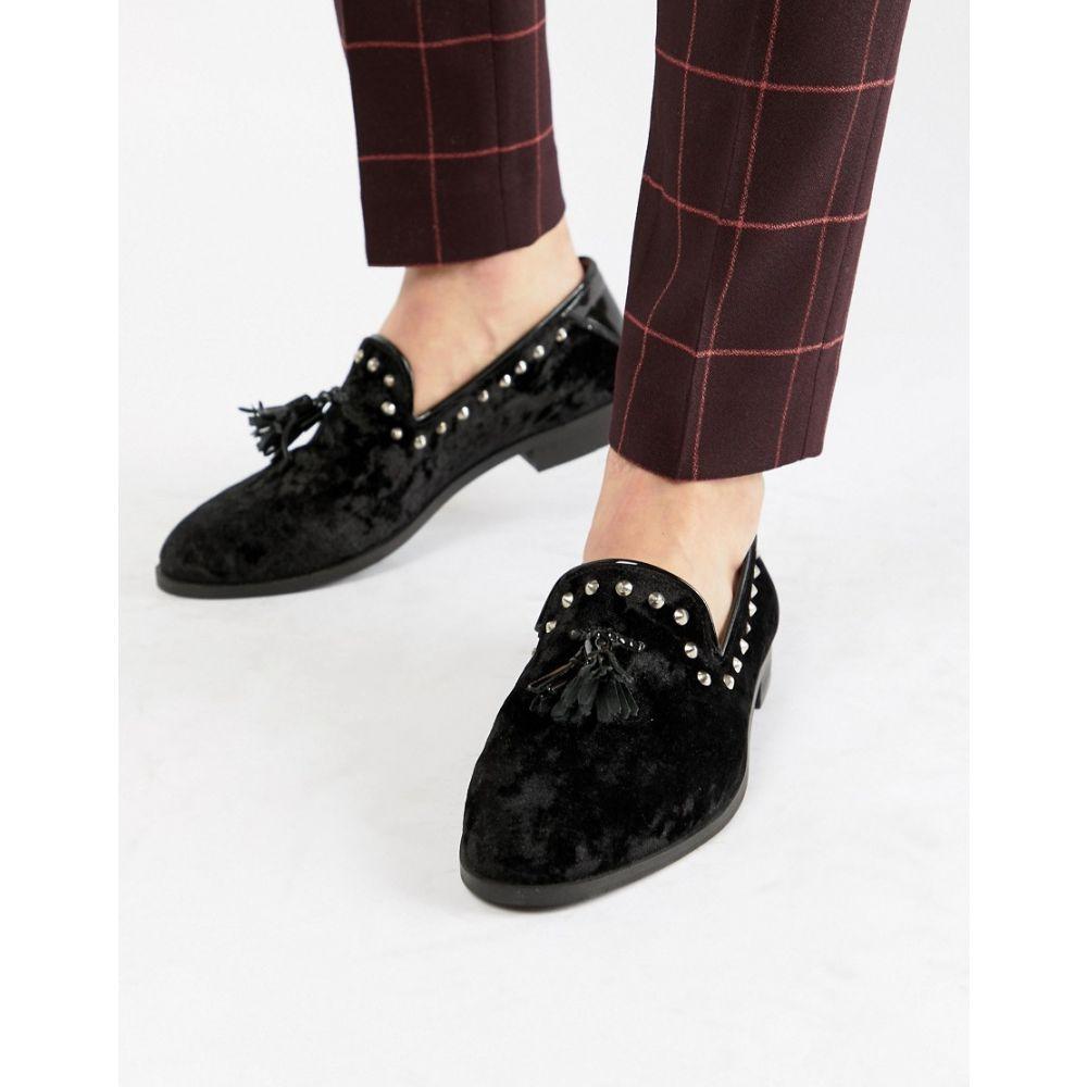 ハウスオブハウンズ House of Hounds メンズ ローファー シューズ・靴【House Of Hounds Raptor stud tassel loafers in black velvet】Black