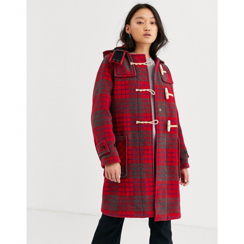 グローバーオール Gloverall レディース コート ダッフルコート アウター【Monty full length red check duffle coat in wool blend】Red check outer