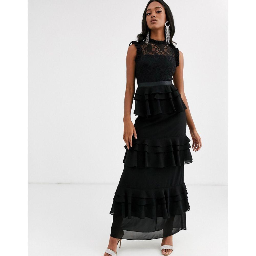 フォーエバー ユー Forever U レディース ワンピース ティアードドレス ワンピース・ドレス【high neck tiered maxi dress with lace yolk in black】Black