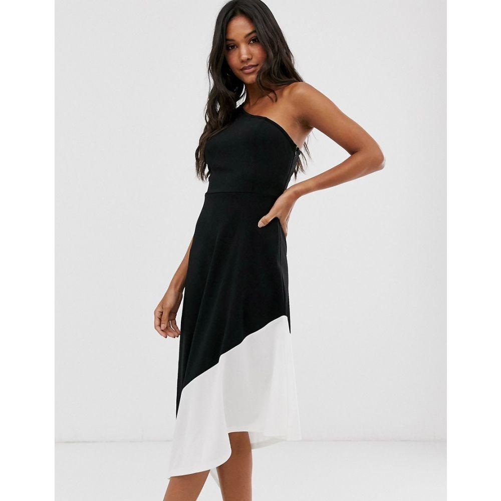 アックスパリス AX Paris レディース ワンピース ワンピース・ドレス【one shoulder colour block assymetric hem dress】Black/white